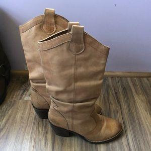Aldo Slouchy Tan Vegan Leather Cowboy Boots 37
